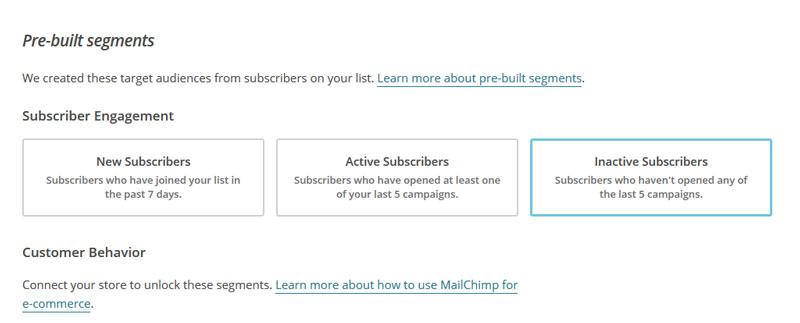 Mailingsoftware wie Mailchimp bietet verschiedene Möglichkeiten, um Benutzergruppe gezielt nach Nutzverhalten zu segmentieren und dadurch individueller zugeschnittene Kampagnen zu erstellen.