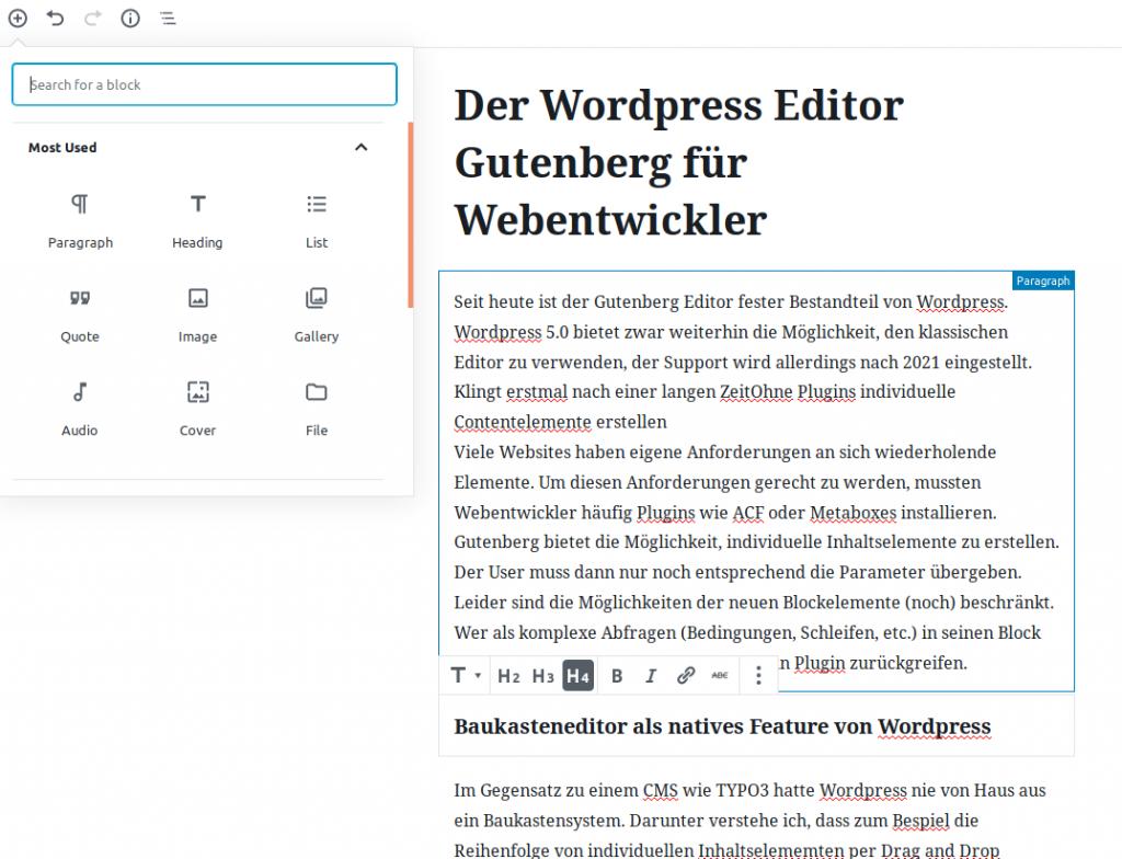 Der neue Gutenberg Editor von WordPress im Einsatz